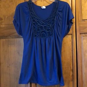 Daytrip Royal Blue Flutter Sleeve Shirt Small
